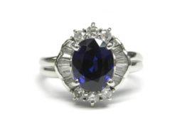 Pt900/サファイア ダイヤ デザインリング