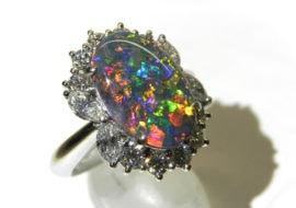 美しい神秘の宝石!!ブラックオパールデザインリング