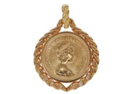 ペンダントトップ エリザベス2世 ソブリン金貨 1ポンド K22/K18 ダイヤ付き
