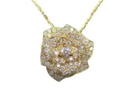 ネックレス K18 YG バラモチーフ ダイヤモンド 2.04ct