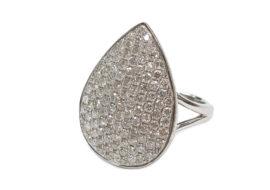 ファッションリング 12号 K18WG ダイヤモンド2.0ct